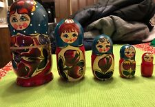 "New Hand Painted 7"" Russian Nesting Doll Matryoshka 5 Piece Set Color Blue/Red"