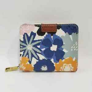 Fossil Floral Zip Wallet Cards Bills Coins Small