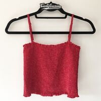 Brandy Melville red/white floral smocked crop Ally tank top NWT XS/S