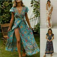 Women BOHO Basic Plain V-Neck Summer Beach Floral Sundress Ladies Maxi Dress