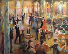 "NEW LEON GOODMAN ORIGINAL OIL ""London Nightlife"" City party life dance PAINTING"