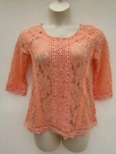 Jolt Womens Medium NWT Orange Sherbet Lace 3/4 Sleeve Top Shirt Blouse DC1