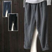 S-5XL Women Casual Harem Pants Wide Legs Cotton Linen Elastic Waist Trousers New