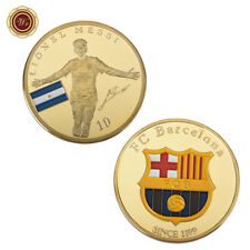 WR Number 10 Lionel Messi / Barcelona Gold Plated Coin Argentina Soccer Souvenir