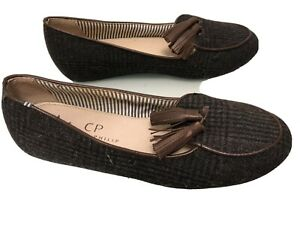CHARLES PHILIP SHANGHAI TWEED LOAFER WITH  LEATHER TASSEL SIZE 39 1/2