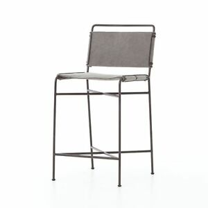 """40"""" H Giannino Contemporary Counter Stool Contoured Stretched Canvas Grey Iron"""
