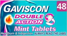 New Gaviscon Double Action Tablets Heartburn and Indigestion, Pack of 48