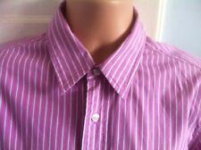 """Thomas Pink da Uomo Malva/Bianco Camicia a Righe in buonissima condizione Medium 15.5"""" COLLARE French Cuff"""