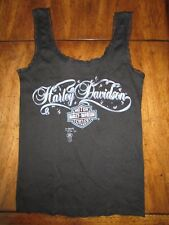 Ladies Black Vintage 3D Emblem HARLEY DAVIDSON Brand Lace Tank Top S 80's Bandit