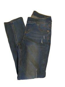 JUSTICE Girl's Blue Jean Denim Pull On Leggings Sz 16  Elastic Waistband