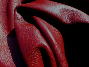 Goatskin leather hide Ruby Red Pebble Grain thick full bodied strong 3-3 1/2 oz