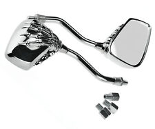 Motorcycle Motorbike Bike Chrome Skeleton Skull Mirrors Rear View 10mm Pair