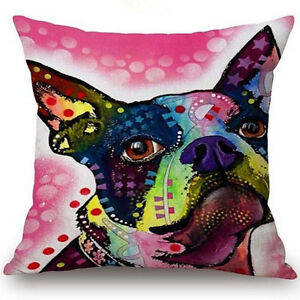 "18"" Oil Painting Animal Pillow Case Linen Cotton Sofa Car Chair Home Decoration"