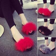 Fashion Women Summer Flip Flop Feather Fur Slide Flat Sandal Shoe Slipper NEW LG