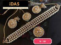 Indian Bollywood Kundan Choker Necklace Earring Tikka Gold Tone Jewelry Set --