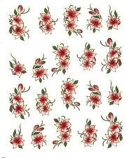 One Stroke Sticker,Blumen,Rot/Weiß,Tattoo, Aufkleber  Nr.1115
