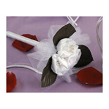 White Pen with Satin Roses - Wedding Bouquet Flower Guest Book Pen - 50% Off