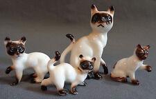 Vintage Bone China Animal Set Mama Siamese Cat + 3 Kittens Babies Japan