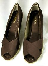 Wedge Markon Gio size 9.5 M brown shimmer fabric espadrille heels peep-toe