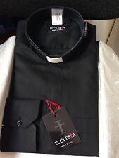 Camicia per Sacerdote Clergy 100 % Cotone nero -  Made in Italy  nuova