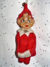 Vintage Christmas Knee Hugger Red Felt Elf With Jingle Bell