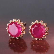 18K Gold Ruby Red Crystal Stud Earrings 248