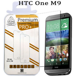 New HTC One M9 Genuine Gorilla Tech Brand Screen Protector Tempered Glass Film