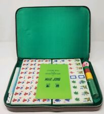 Vtg Mahjong Tricolor Set 148 Tiles Leather Carrying Case Chinese Game Mint Green