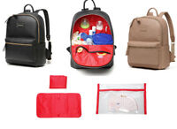 Fashion PU Leather Backpack Multi-function Baby Changing Diaper Bag+Changing Pad