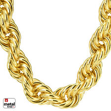 """Men's Hip Hop Iced 14K Gold Dookie Hollow Chunky Rope Chain Necklace 16 mm 30"""""""