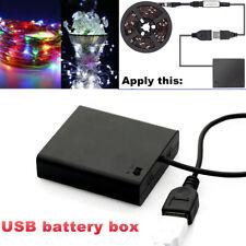 USB Power Supply 6V 4AA Battery Holder Box Case for 5050 3528 LED Strip Light