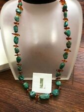 """Lee Sands Blue Turquoise & Amber Stone Nugget Gemstone 28"""" Necklace NEW"""