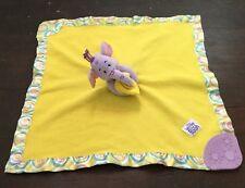 Disney Heffalump Lovey Yellow Purple Lumpy Elephant Rattle Teether Satin Trim