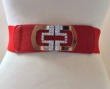 Ampio elastico Rosso Cintura/Fibbia in Metallo Oro Cristallo/Elasticizzati/25