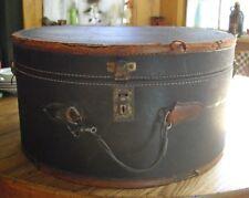 "Vintage Black 16"" x 17 3/4"" Round Hat Box Train Case Suitcase ~"