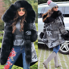WOMENS LADIES COAT CAMOUFLAGE WINTER FUR LINED PARKA CASUAL JACKET SIZE 10