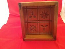 Antique RARE Butter Mold Wooden W/ Frame Four Designs Flowers Leaves EUC!!!!