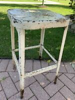 Antique Vintage Industrial Metal Stool Chair Shop Factory Garage