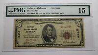 $5 1929 Auburn Alabama AL National Currency Bank Note Bill Ch. #12455 FINE PMG