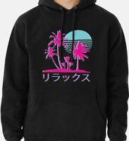 Vaporwave Aesthetic Neon Palms Men's Black Hoodie