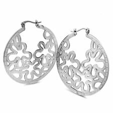 "Mate And Shiny Filligree 'S Hoop Earrings Flower Design, 45Mm Or 1.6"" Inch"