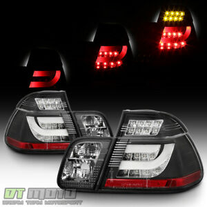 Black 99-01 Bmw E46 3-Series Sedan Led Tail Lights w/Led Strip 1999-2001