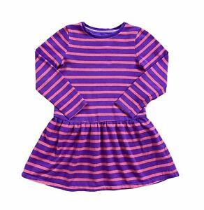 Mini Boden Sweatshirt Dress Girls 7-8Y Purple Red Stripe Drop Waist Tunic