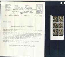 N IRELAND -1968 4d SEPIA-CYL BLK 6-PHANTOM A VARIETY+ORIG HARRY ALLEN LETTER!