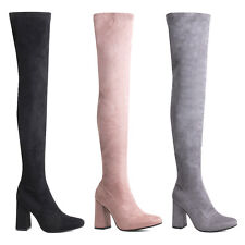 Womens Ladies Suede Long Thigh High Boots Zip Side High Heel Boots Shoes Size