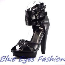 Designer  High Heels Sandaletten SCHWARZ Partyschuhe Abendschuhe Gr. 36