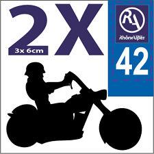2 stickers style plaque immatriculation moto Département RHONE ALPES RA 42
