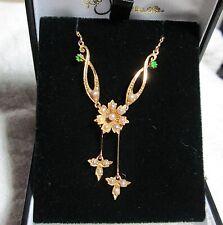 15Ct 15K Gold Pearl Demantoid Garnet Negligee Necklace c1910 Delicate Edwardian