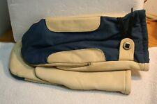 Vintage Blue White Leather Winter Ski Mittens Gloves Medium Unmarked Soft Lined