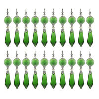 30 Green Chandelier Glass Crystals Lamp Prisms Parts Hanging Pendants Decor 38MM